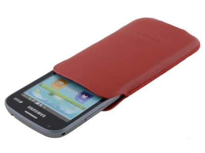 Genuine Leather Slide-in Case for Samsung Galaxy Trend Plus S7583T / S Duos S7562 - Red
