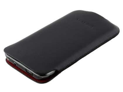 Genuine Leather Slide-in Case for Samsung I9000 Galaxy S - Black