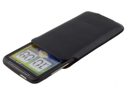 Genuine Leather Slide-in Case for HTC Desire HD - Black