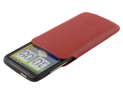 Genuine Leather Slide-in Case for HTC Desire HD  - Red