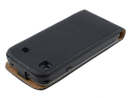 Samsung I9000 Galaxy S Slim Synthetic Leather Flip Case - Classic Black