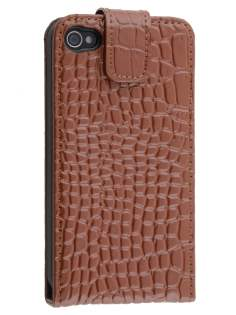 TS-CASE Crocodile Pattern Genuine Leather Flip Case for iPhone 4S/4 - Brown Leather Flip Case