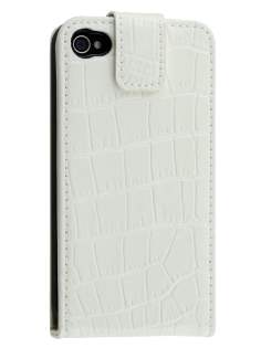 TS-CASE Crocodile Pattern Genuine Leather Flip Case for iPhone 4S/4 - Pearl White Leather Flip Case