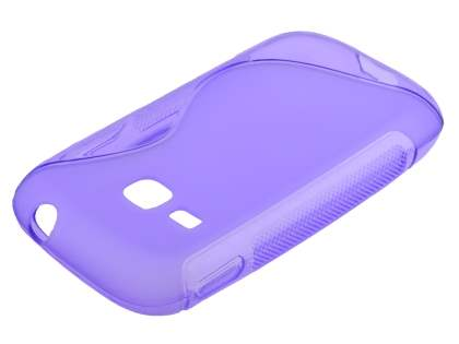 Wave Case for Samsung Galaxy Young S6310 - Frosted Purple/Purple Soft Cover