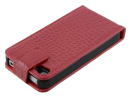 TS-CASE crocodile pattern Genuine Leather Flip Case for iPhone 4S - Red