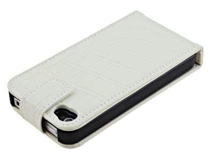 TS-CASE Crocodile Pattern Genuine Leather Flip Case for iPhone 4S/4 - Pearl White