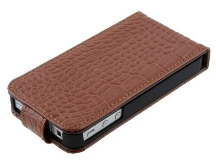 TS-CASE Crocodile Pattern Genuine Leather Flip Case for iPhone 4S/4 - Brown