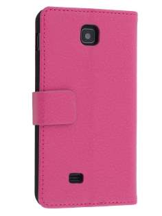 Synthetic Leather Wallet Case with Stand for LG Optimus F5 P875 - Pink Leather Wallet Case