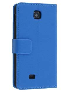 Synthetic Leather Wallet Case with Stand for LG Optimus F5 P875 - Blue Leather Wallet Case
