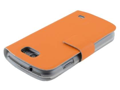 Samsung Galaxy Express i8730 Slim Genuine Leather Portfolio Case - Orange