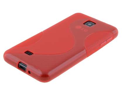 Wave Case for LG Optimus F5 P875 - Frosted Red/Red