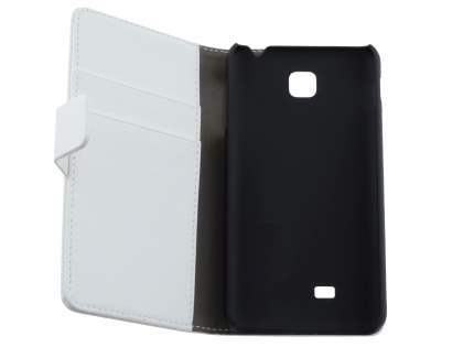 LG Optimus F5 P875 Synthetic Leather Wallet Case with Stand - White