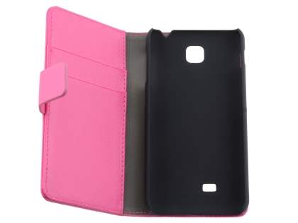 LG Optimus F5 P875 Synthetic Leather Wallet Case with Stand - Pink
