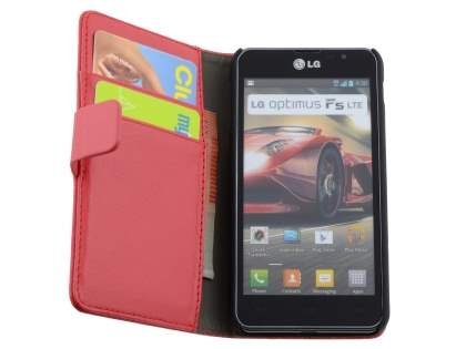 LG Optimus F5 P875 Synthetic Leather Wallet Case with Stand - Red