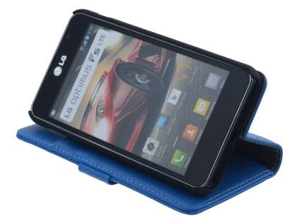 LG Optimus F5 P875 Synthetic Leather Wallet Case with Stand - Blue