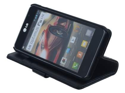 LG Optimus F5 P875 Synthetic Leather Wallet Case with Stand - Black