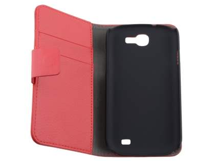 Samsung Galaxy Express i8730 Synthetic Leather Wallet Case with Stand - Red