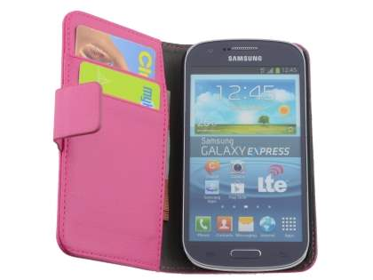 Samsung Galaxy Express i8730 Synthetic Leather Wallet Case with Stand - Pink