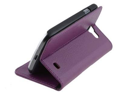Synthetic Leather Wallet Case with Stand for Samsung Galaxy Express i8730 - Purple