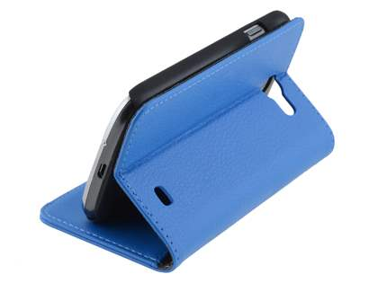 Samsung Galaxy Express i8730 Synthetic Leather Wallet Case with Stand - Blue