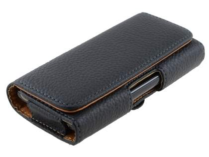 Textured Synthetic Leather Belt Pouch for LG Optimus F5 P875 - Classic Black