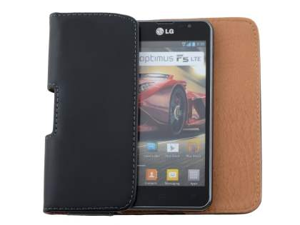 Smooth Synthetic Leather Belt Pouch for LG Optimus F5 P875 - Classic Black