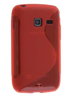 Wave Case for Samsung Galaxy Y Duos S6102 - Frosted Red/Red Soft Cover