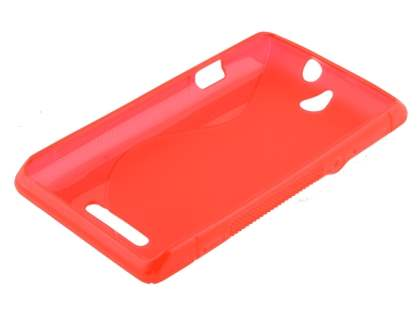 Sony Xperia E Wave Case - Frosted Red/Red