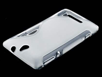 Wave Case for Sony Xperia E - Frosted Clear/Clear Soft Cover