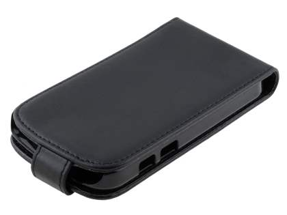 BlackBerry Q10 Synthetic Leather Flip Case - Classic Black