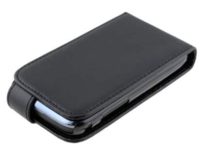Samsung Galaxy Y Duos S6102 Synthetic Leather Flip Case - Classic Black