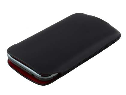 Genuine Leather Slide-in Case for Samsung Galaxy Ace Plus S7500 - Black
