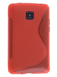 LG Optimus L3 II E430 Wave Case - Frosted Red/Red Soft Cover