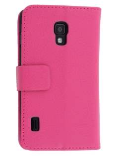 LG Optimus L7 II P710 Synthetic Leather Wallet Case with Stand - Pink Leather Wallet Case