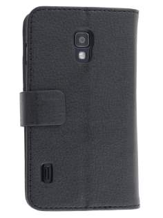 LG Optimus L7 II P710 Synthetic Leather Wallet Case with Stand - Classic Black Leather Wallet Case