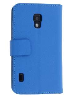 LG Optimus L7 II P710 Synthetic Leather Wallet Case with Stand - Blue