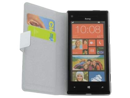 Slim Genuine Leather Portfolio Case for HTC Windows Phone 8X - Pearl White