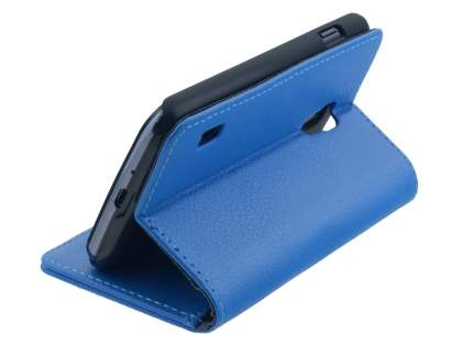 LG Optimus L7 II Dual P715 Synthetic Leather Wallet Case with Stand - Blue