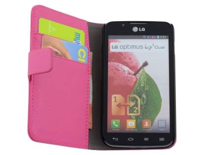LG Optimus L7 II Dual P715 Synthetic Leather Wallet Case with Stand - Pink