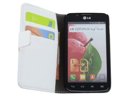 LG Optimus L7 II Dual P715 Synthetic Leather Wallet Case with Stand - Pearl White