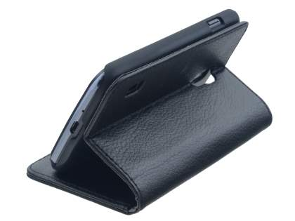 Synthetic Leather Wallet Case with Stand for LG Optimus L7 II Dual P715 - Classic Black