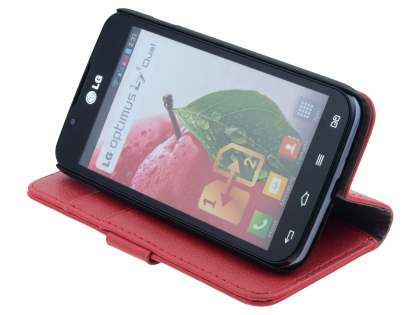 LG Optimus L7 II Dual P715 Synthetic Leather Wallet Case with Stand - Red