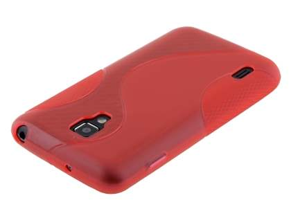 LG Optimus L7 II Dual P715 Wave Case - Frosted Red/Red