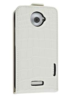 TS-CASE Crocodile Pattern Genuine leather Flip Case for HTC One X - Pearl White Leather Flip Case