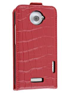 TS-CASE Crocodile Pattern Genuine leather Flip Case for HTC One X - Red Leather Flip Case