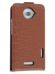 TS-CASE Crocodile Pattern Genuine leather Flip Case for HTC One X - Brown Leather Flip Case