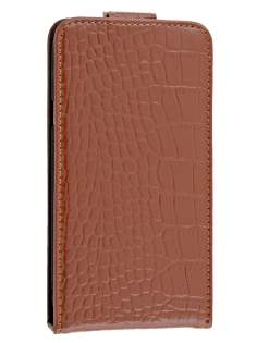 TS-CASE Crocodile Pattern Genuine leather Flip Case for HTC One X - Brown