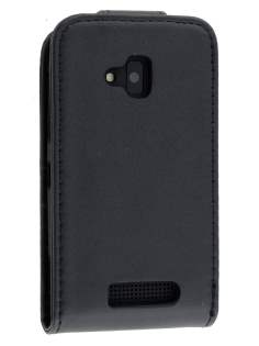 Synthetic Leather Flip Case for Nokia Lumia 610 - Classic Black Leather Flip Case