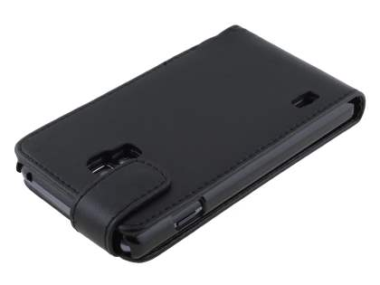 Synthetic Leather Flip Case for LG Optimus L7 II P710 - Classic Black