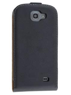 Slim Genuine Leather Flip Case for Samsung Galaxy Express i8730 - Classic Black Leather Flip Case